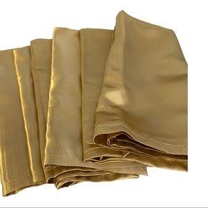 6 gold Satin Decorative Napkins